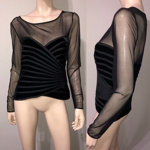 JS Collections Black Mesh Evening Top 10